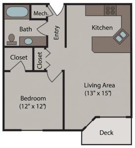 Cherrywood Apartments Floor Plan for 1 Bedroom / 1 Bathroom