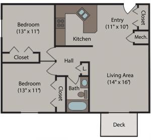 Cherrywood Apartments Floor Plan for 2 Bedroom / 1 Bathroom