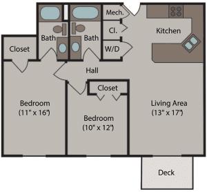 Cherrywood Apartments Floor Plan for 2 Bedroom / 2 Bathroom