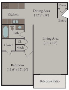 Sutter Place Apartments - 1 Bedroom Floor Plan